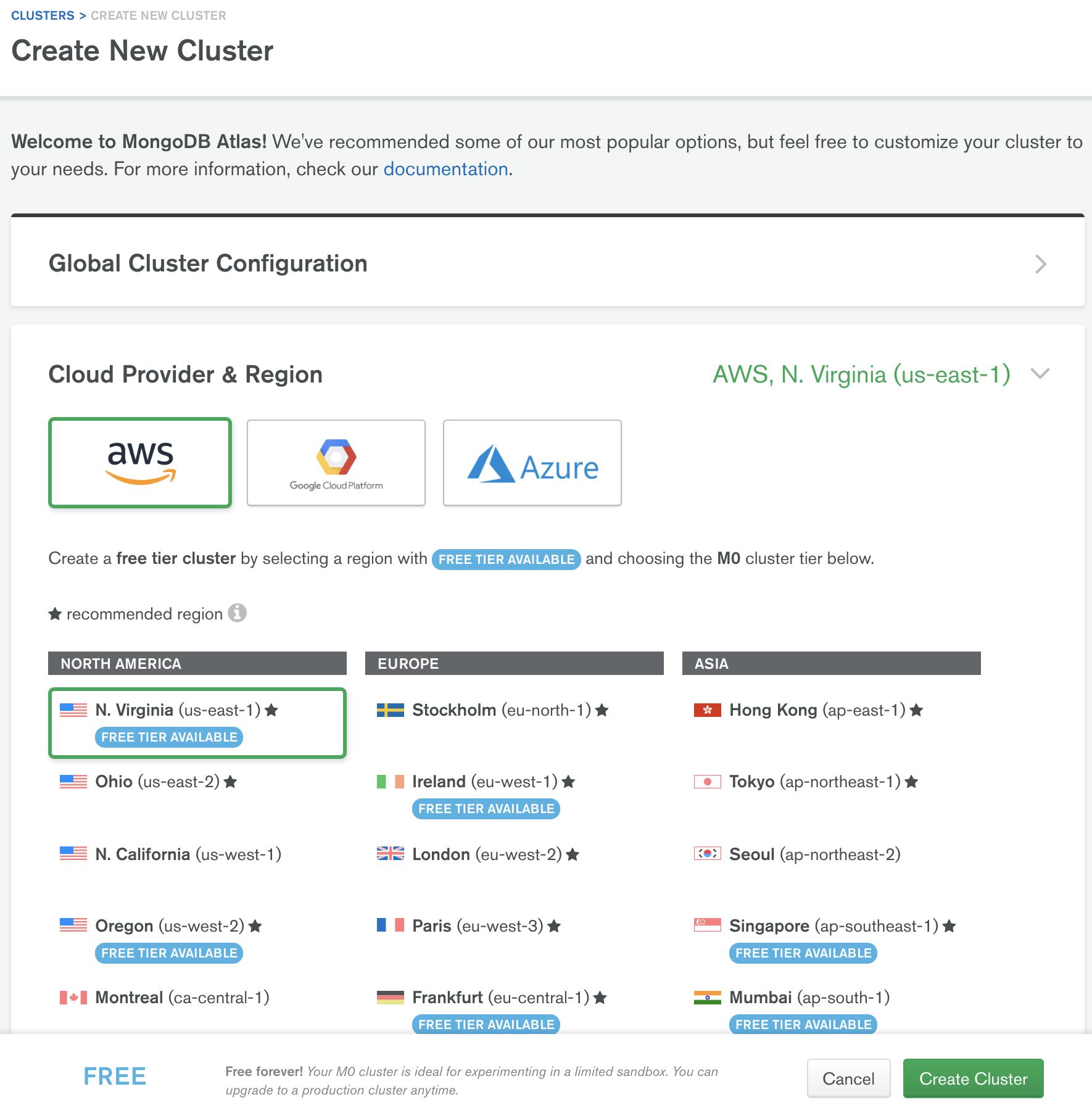 Imagem da criação de cluster no free tier