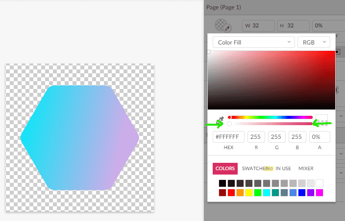 Image of the color picker slider being set to 0% opacity