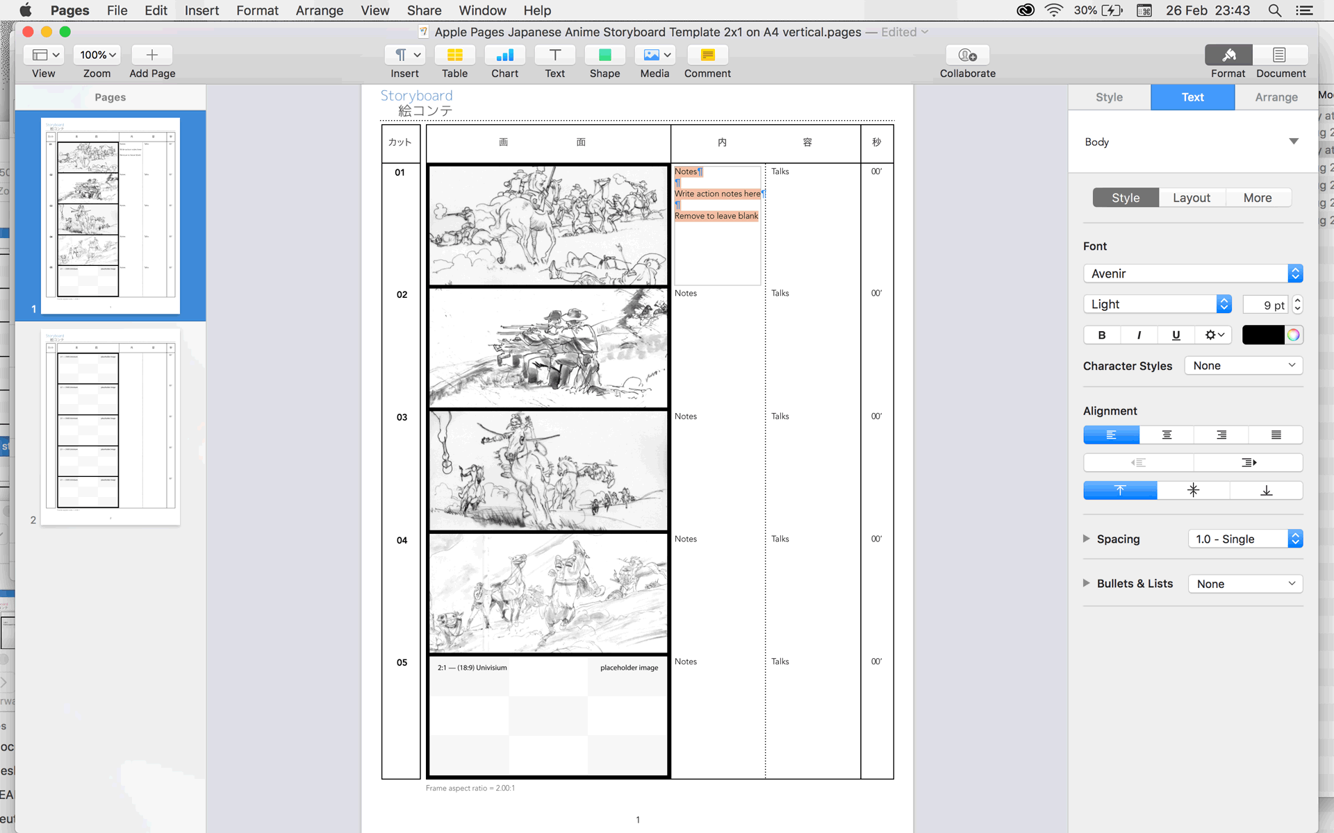 Apple Pages anime storyboard template for 2.00:1 2.00:1 aspect ratio films