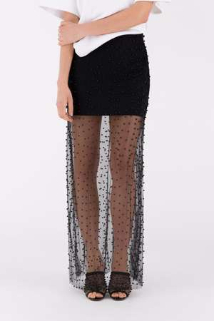 Beaded Long Skirt, Black