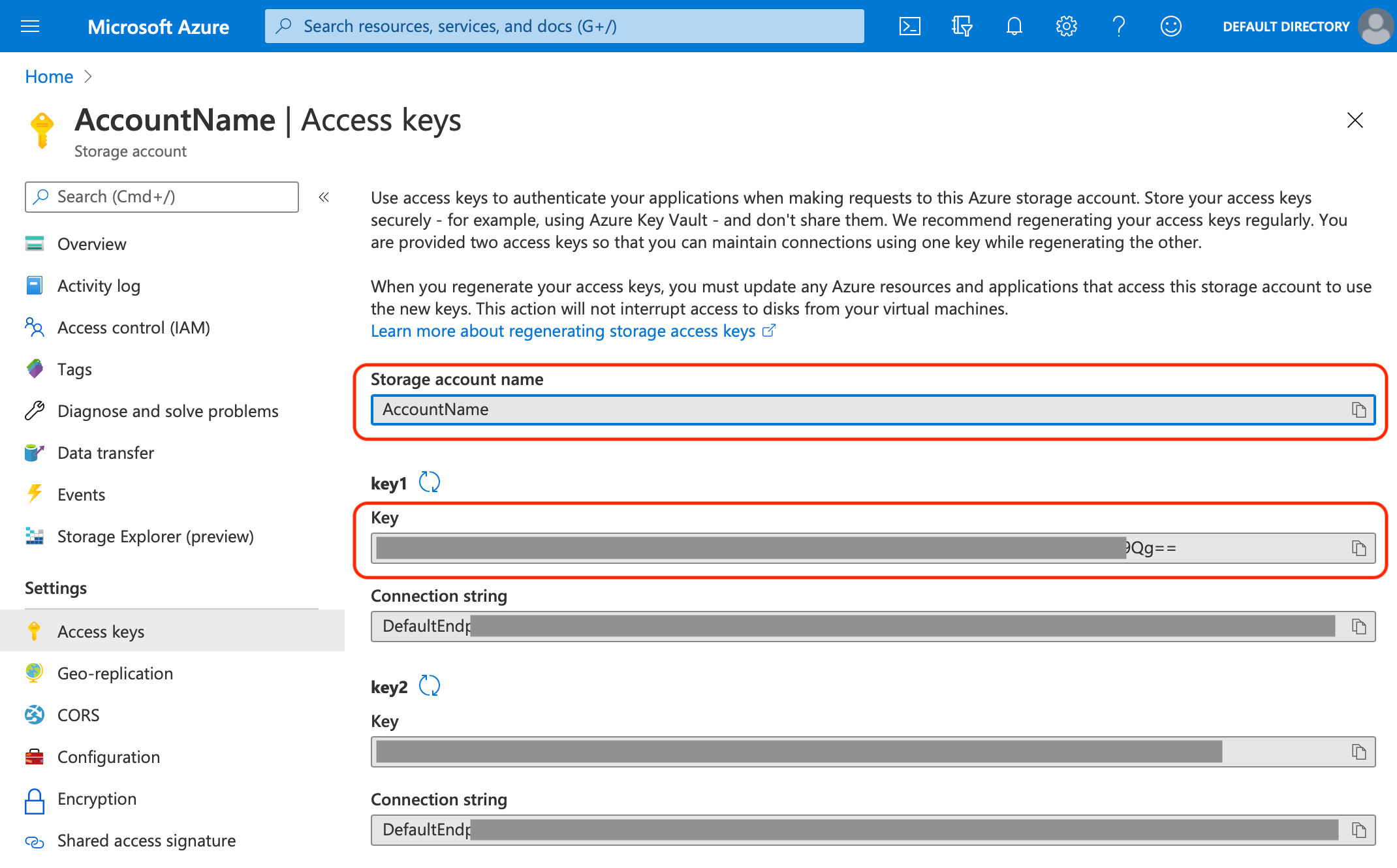 Microsoft Azure Storage Access Keys