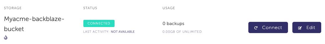 Storage list with newly created Backblaze storage