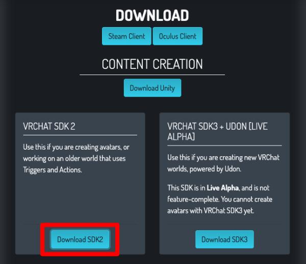 VRCHAT SDK 2 ダウンロード