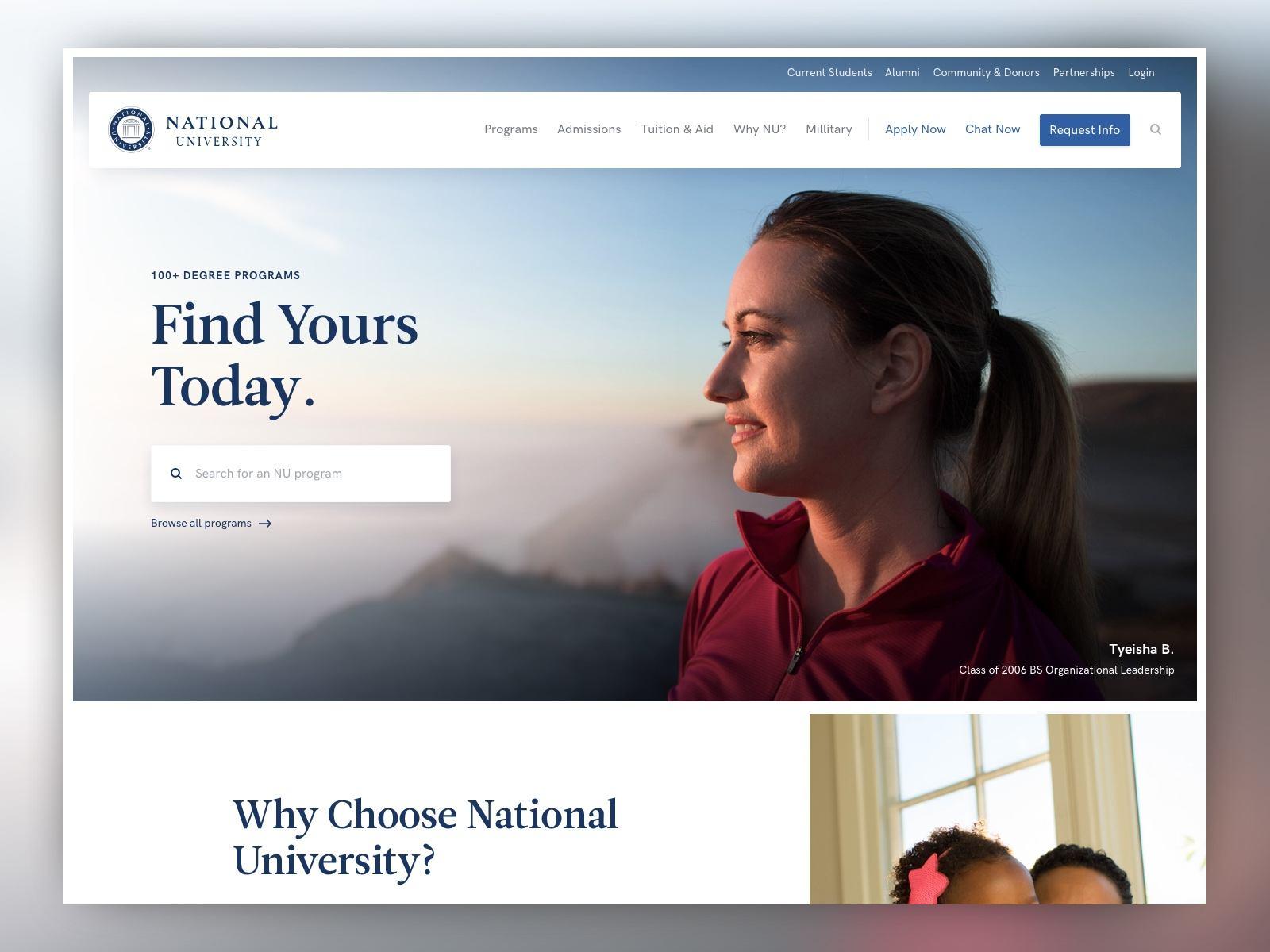 screenshot of the National University homepage at desktop size