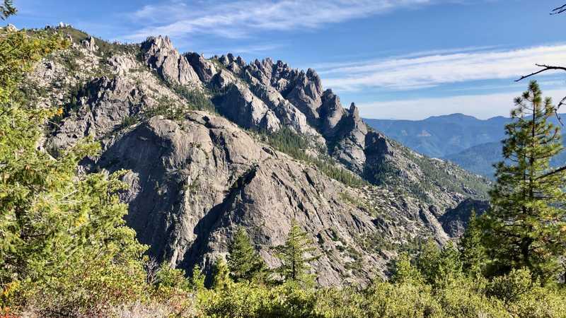 Descending past the base of Castle Crags
