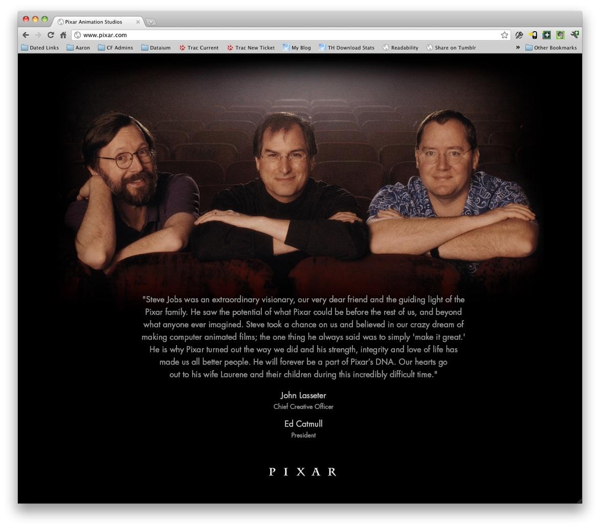 Pixar tribute to Steve Jobs