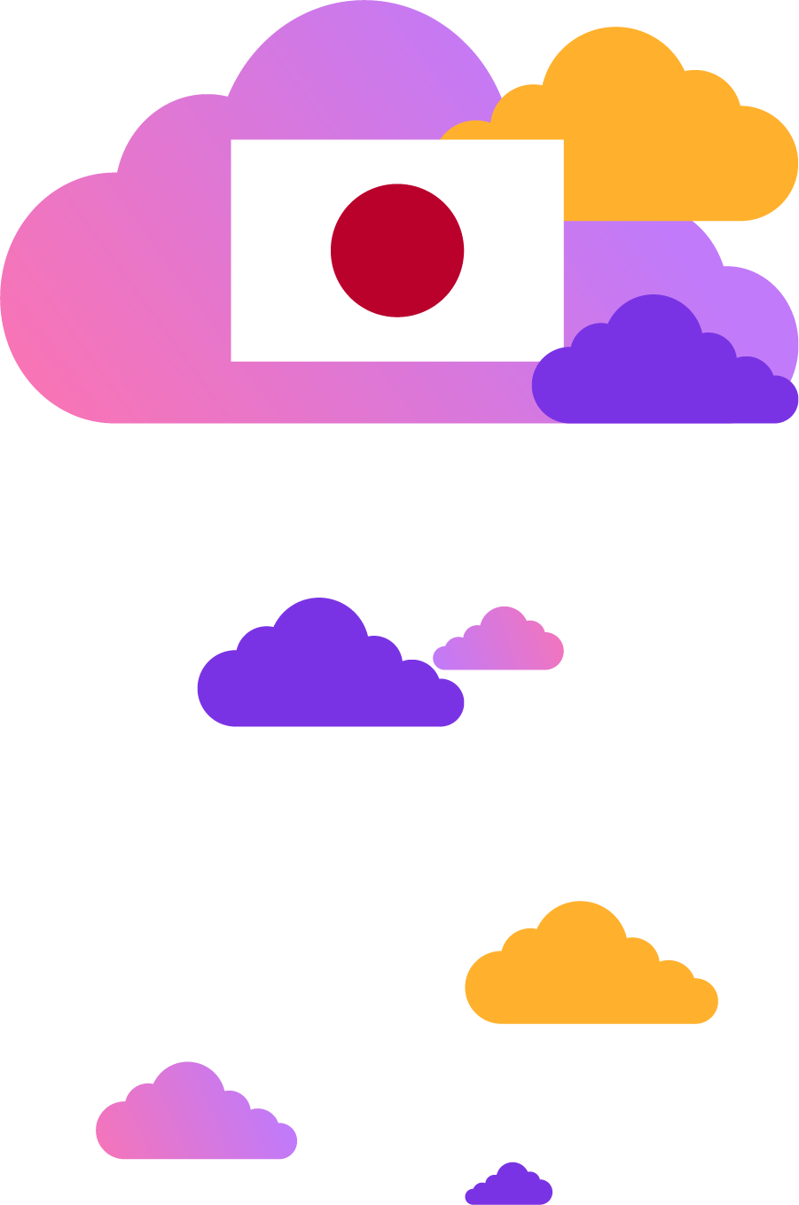 Japanese flag on top of colorful clouds