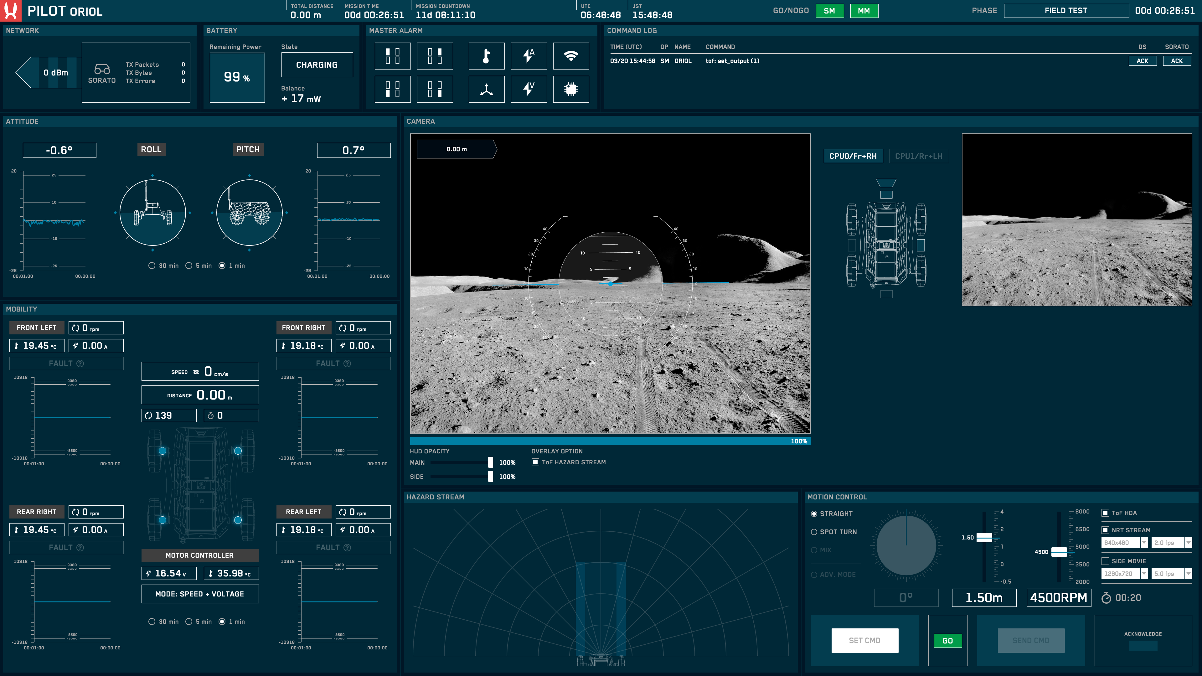 First screen of the Pilot interface.