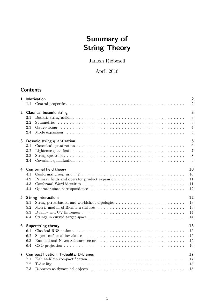 String theory summary