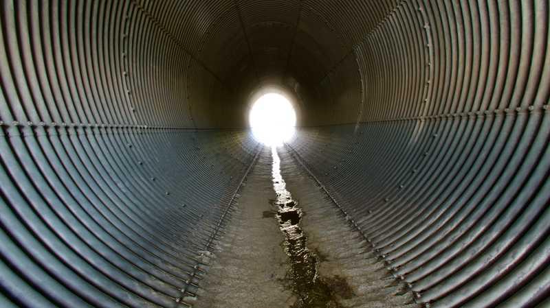 Drainage pipe at Cajon Pass