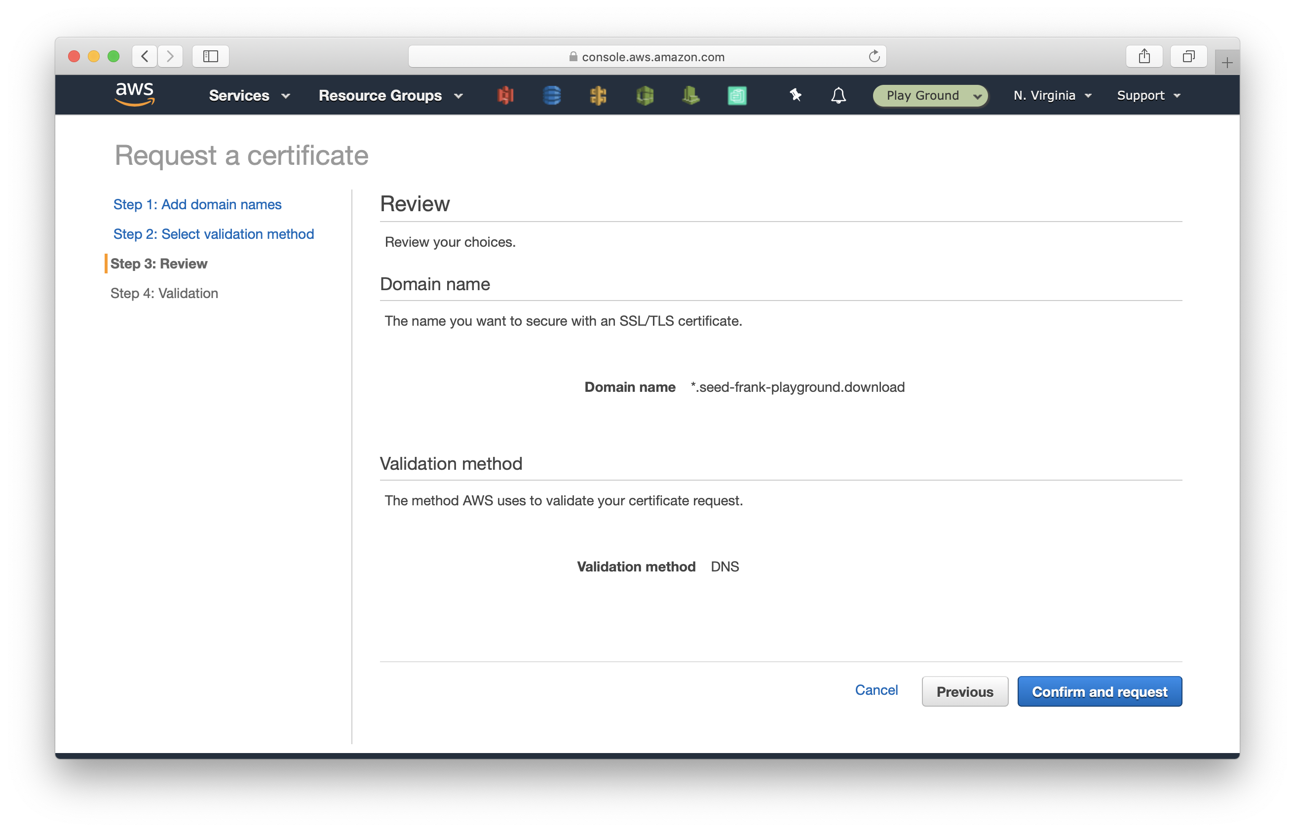 Confirm and request a certificate in Certificate Manager