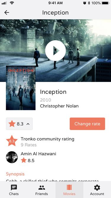 Screenshot of a movie view inside the Tronko app