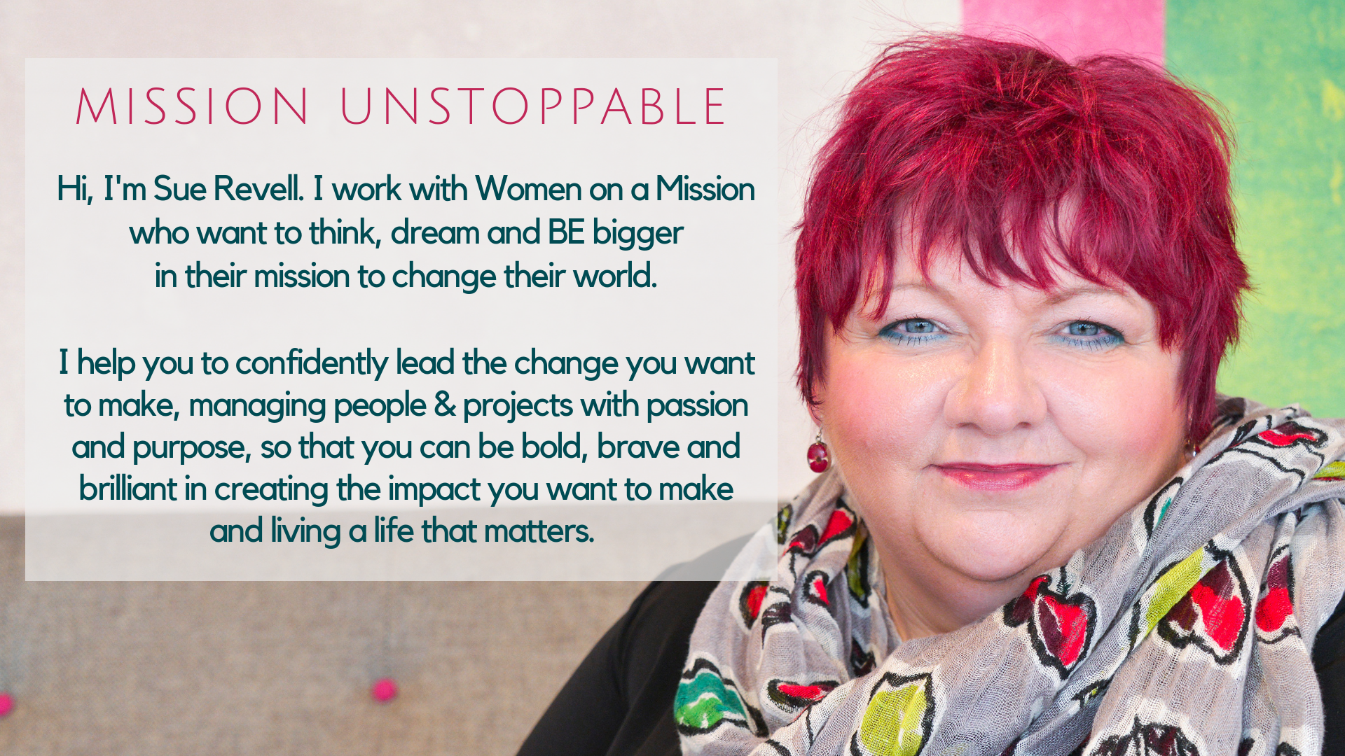 Sue Revell - Mission Unstoppable image header