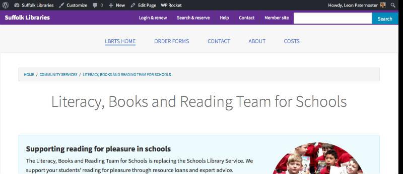 Screenshot of the Suffolk Libraries website