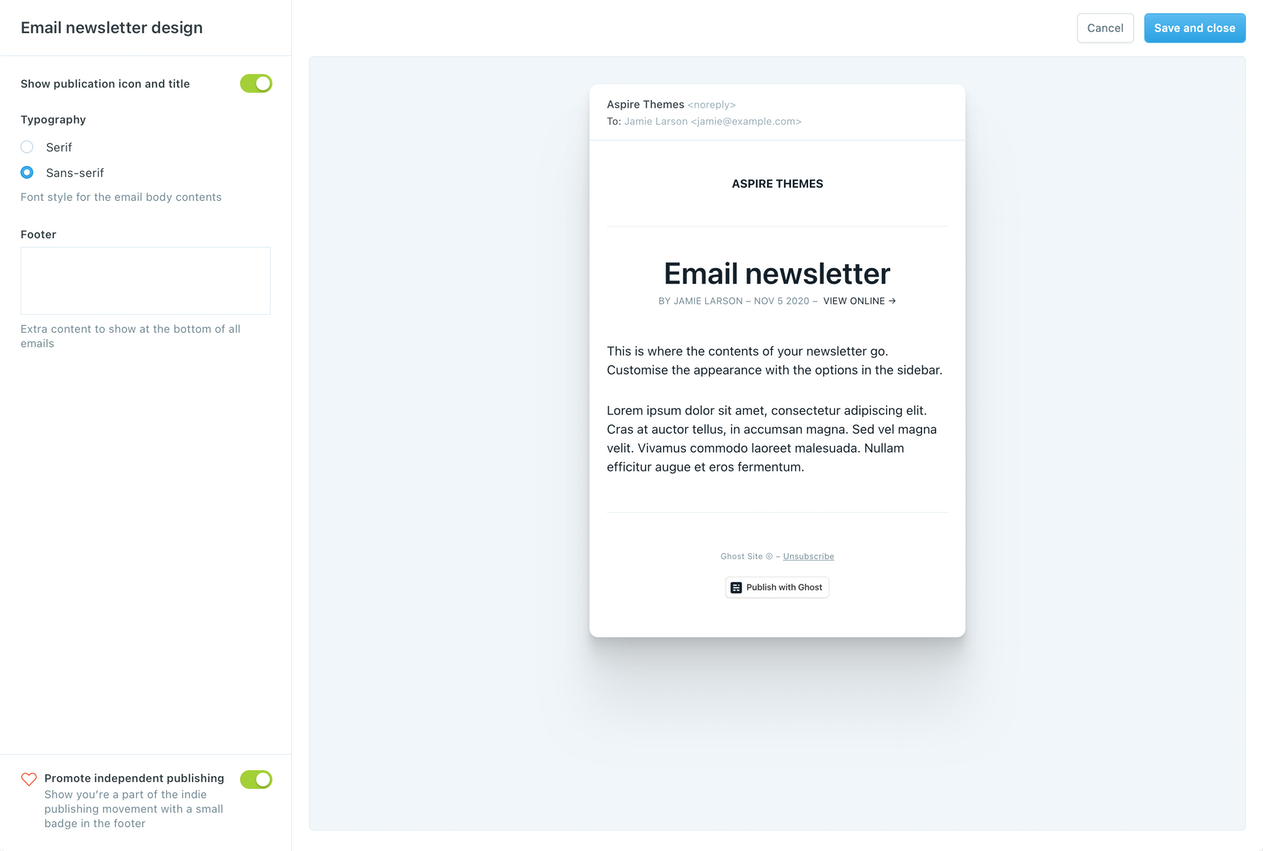Ghost CMS Email Design