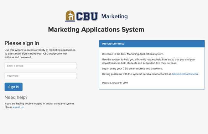 Screenshot of CBU Marketing Applications web app
