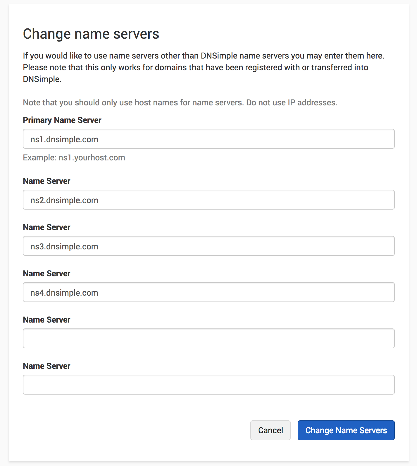 Complete name server change