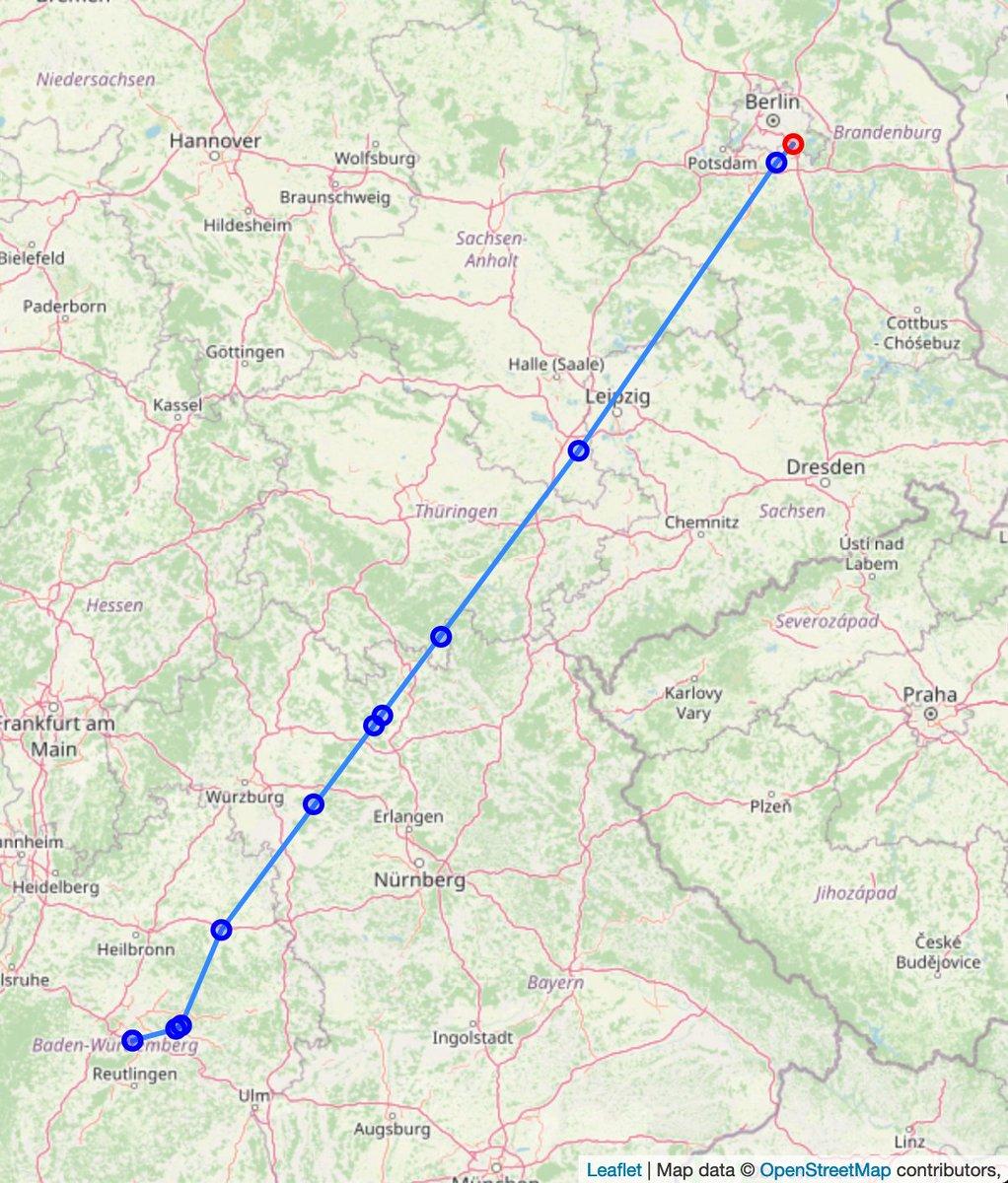 Geflogene Route basierend auf den GPS-Messpunkten