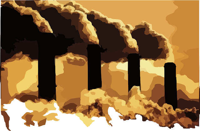 Factory chimneys billowing polution