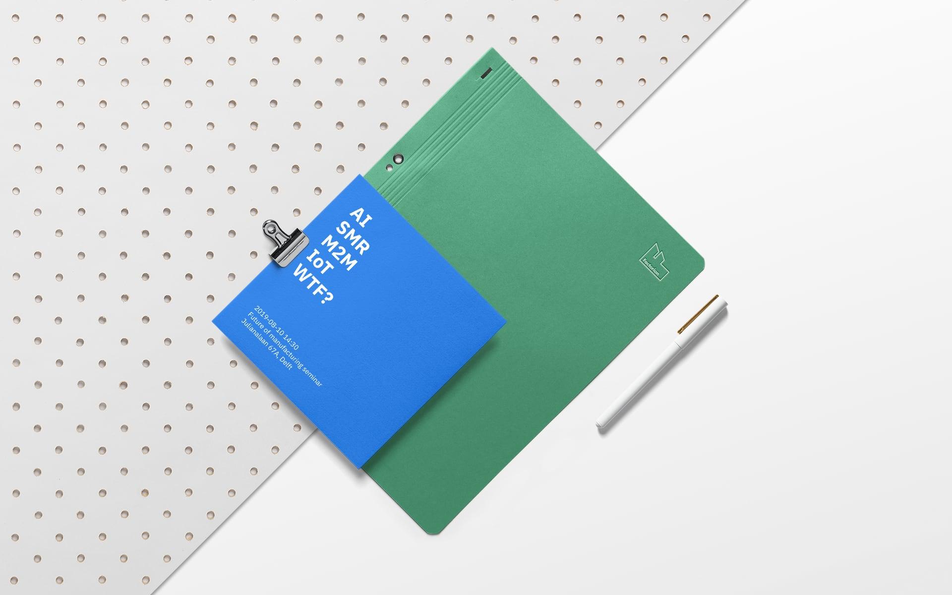 Factorion binder and square flyer design