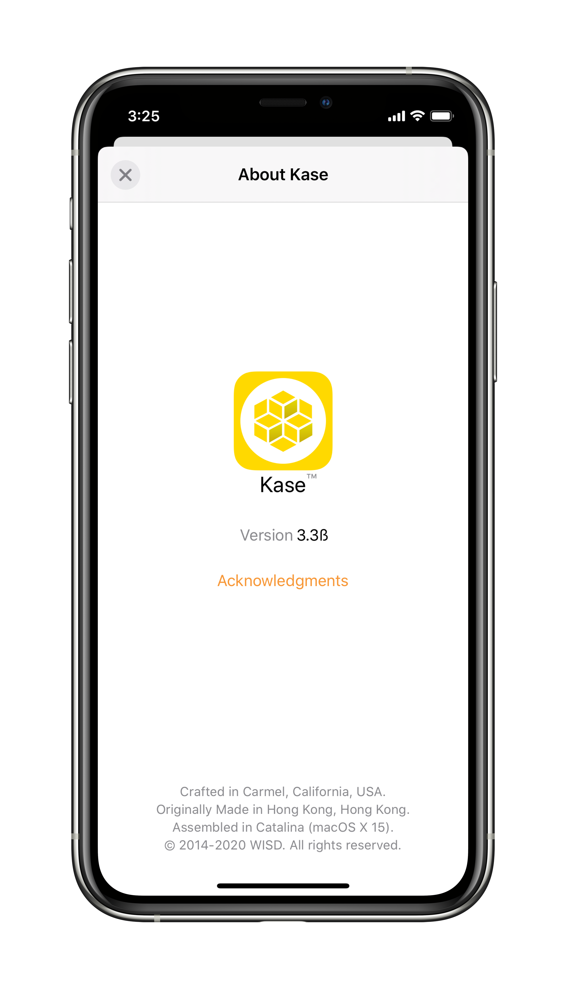 """The """"About Kase"""" window in Light mode; Dark mode readily available."""