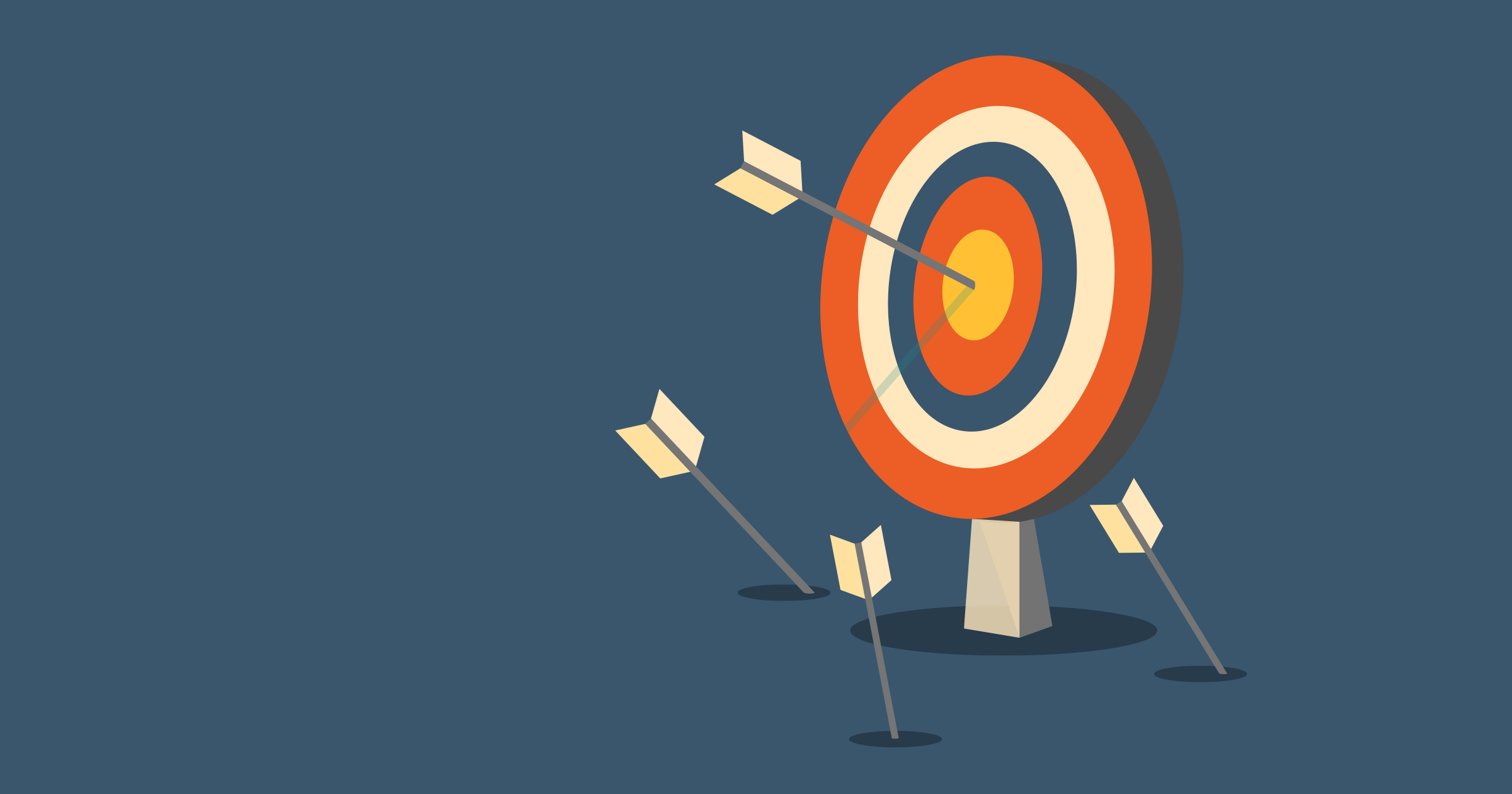 An archery target with three arrows on the ground in front of it, and one arrow in the bullseye.