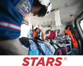 Stars paramedics inside a helicopter