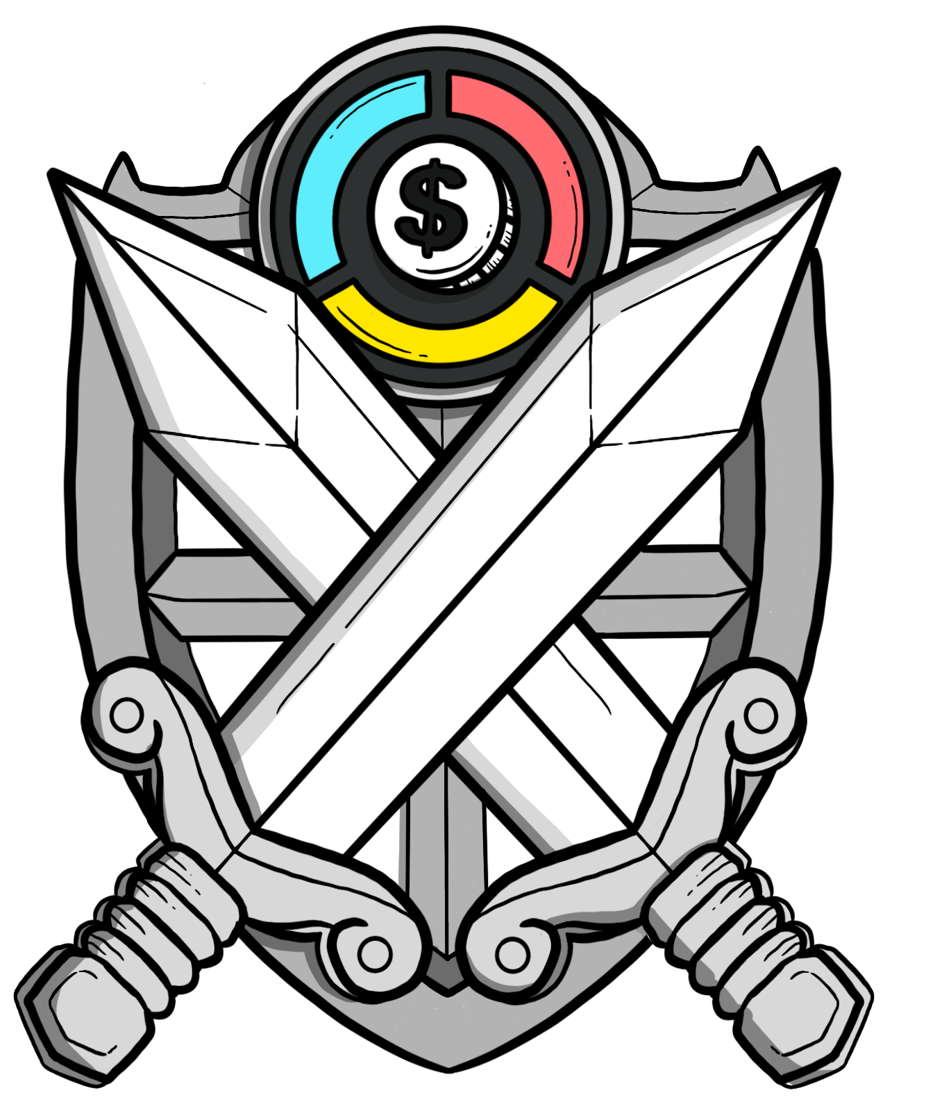 Badge with two swords crossing each other, Cash Coach logo on top.
