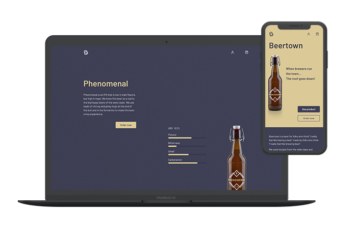 Two screens from e-commerce. On the desktop screen is a description of the beer, from taste to smell. On the mobile screen is the homepage of the shop.