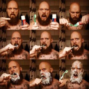 Collage of bearded man brushing his teeth