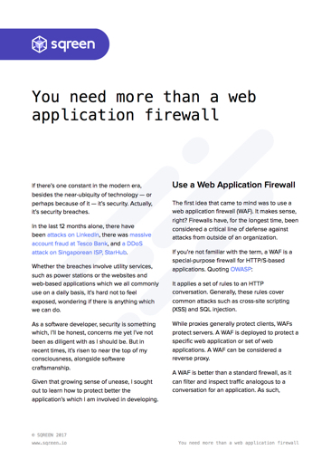 You need more than a WAF - Web Application Firewall