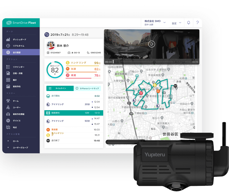 SmartDrive Fleetの画面スクリーンショットとドライブレコーダー写真