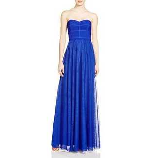 JS Strapless Mesh Skirt Gown