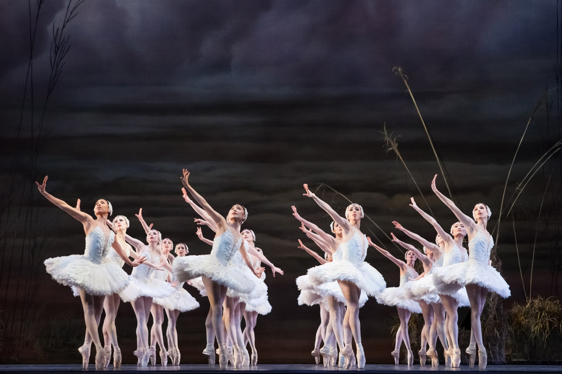 Four rows of ballerinas in white tutus extend arms on point, against background of stormy rolling clouds.