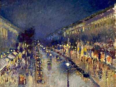 Camille Pissarro's Boulevard Montmartre at Night, one of dozens of works of this street painted by Pissarro in the late 1890s.