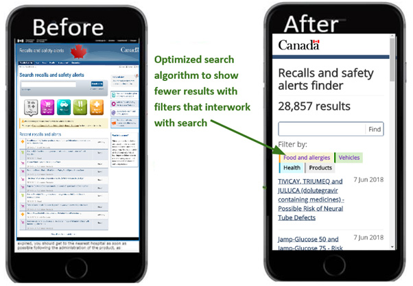 Image of two phones showing the search page, labelled 'Before' and 'After'.