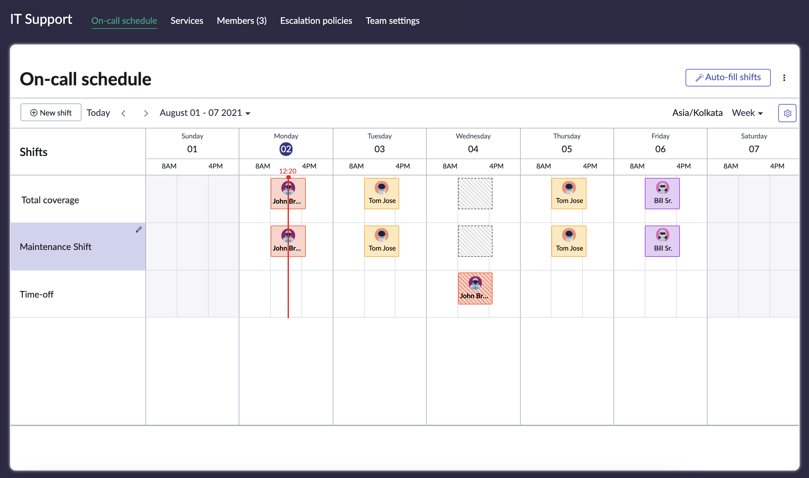 View on-call schedule page for the team.