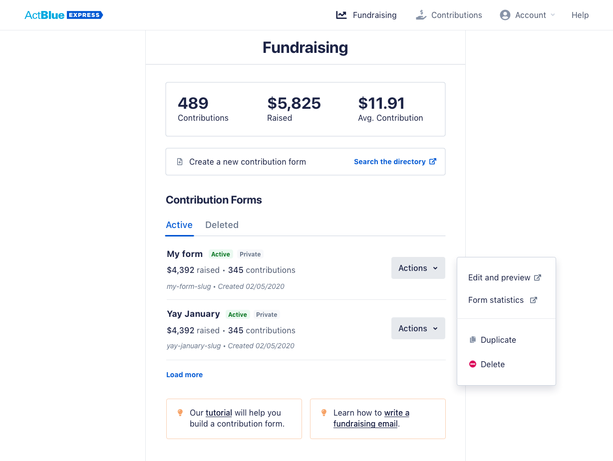 the desktop view of a donor's fundraising overview page