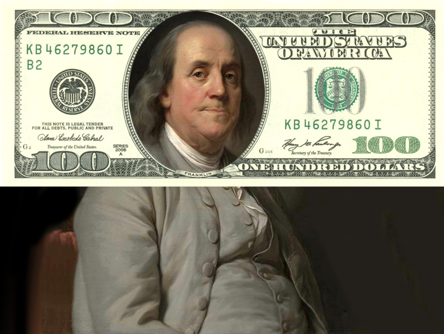 Портрет Бенджамина Франклина кисти Жозефа Дюплесси и стодолларовая банкнота