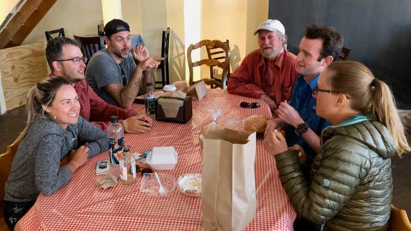 Woohoo crew with trail angel Daniel in a Tehachapi bakery
