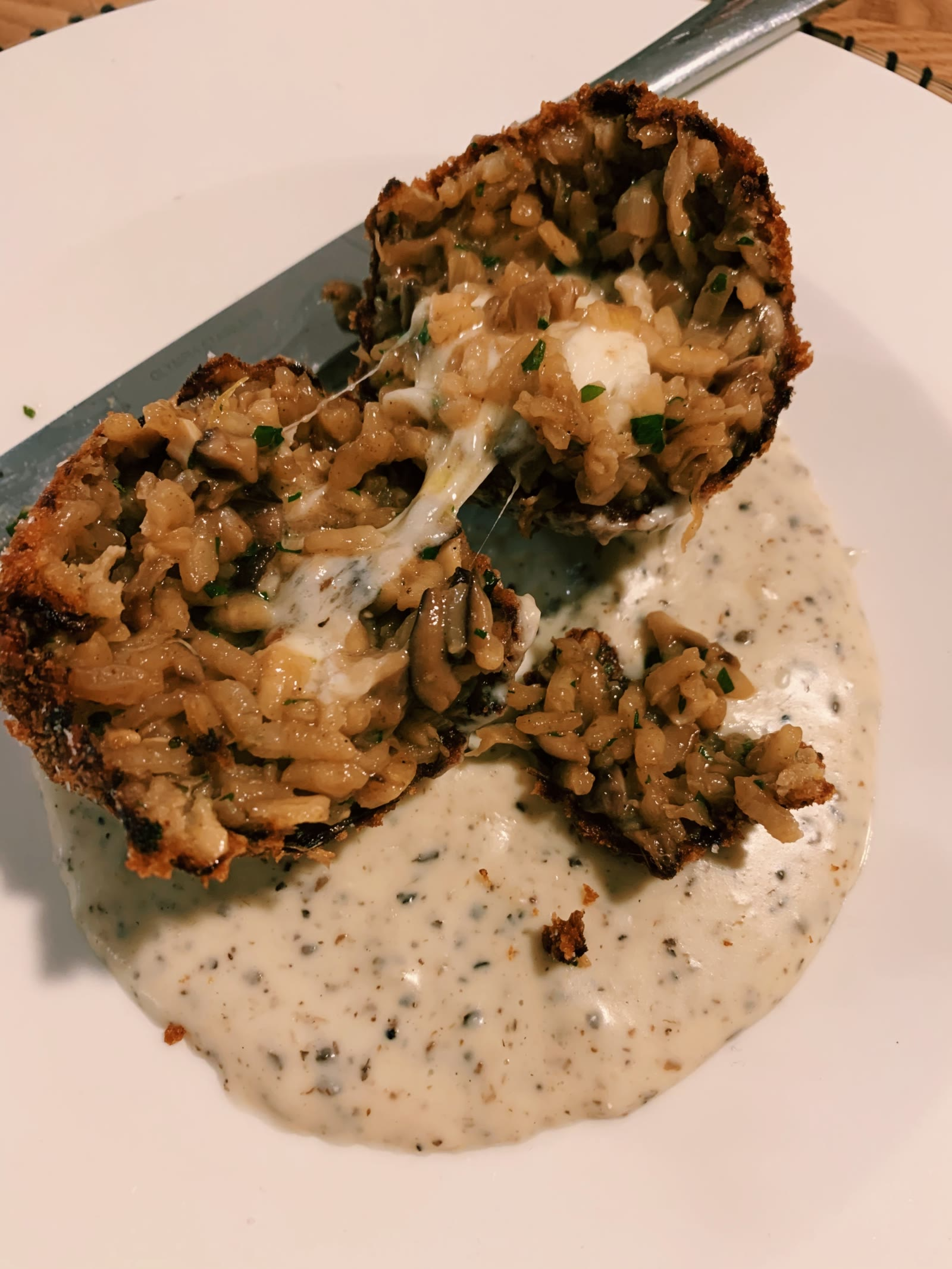 Wild Mushroom Arancini with Truffle Sauce