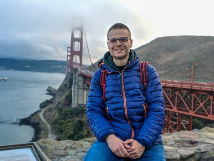 Stefan near the Golden Gate Bridge