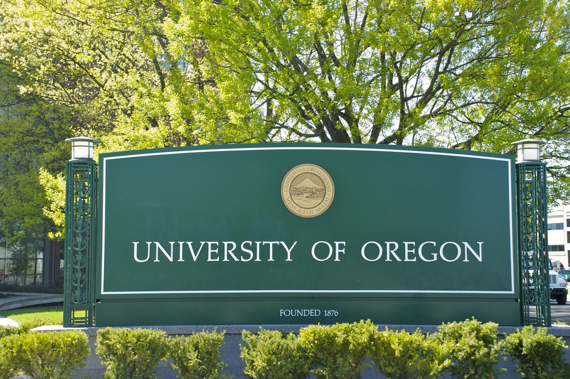 University of Oregon campus sign