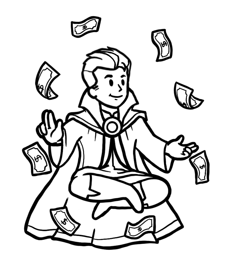 Male avatar sitting down with money floating in front.