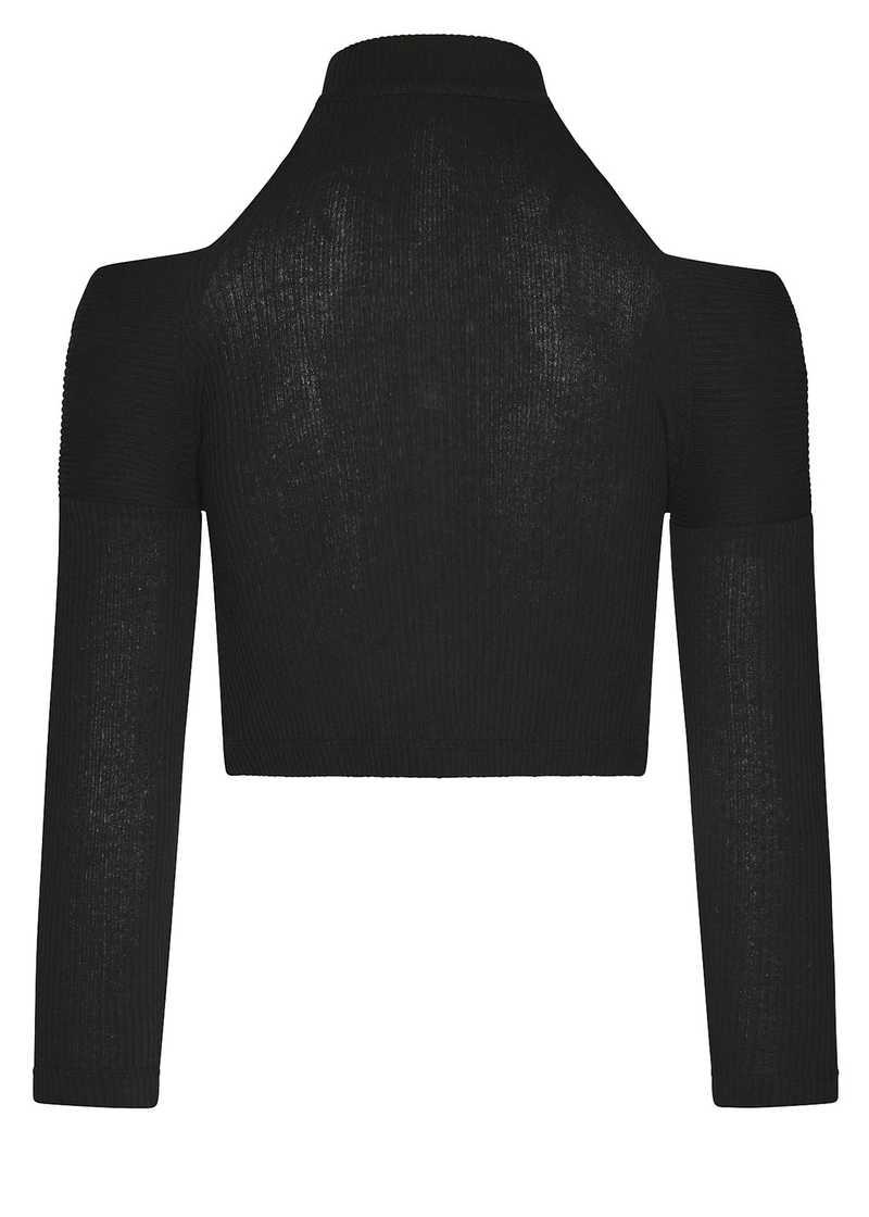 NASHIRA top in black. GmbH Spring/Summer 2021 'RITUALS OF RESISTANCE'