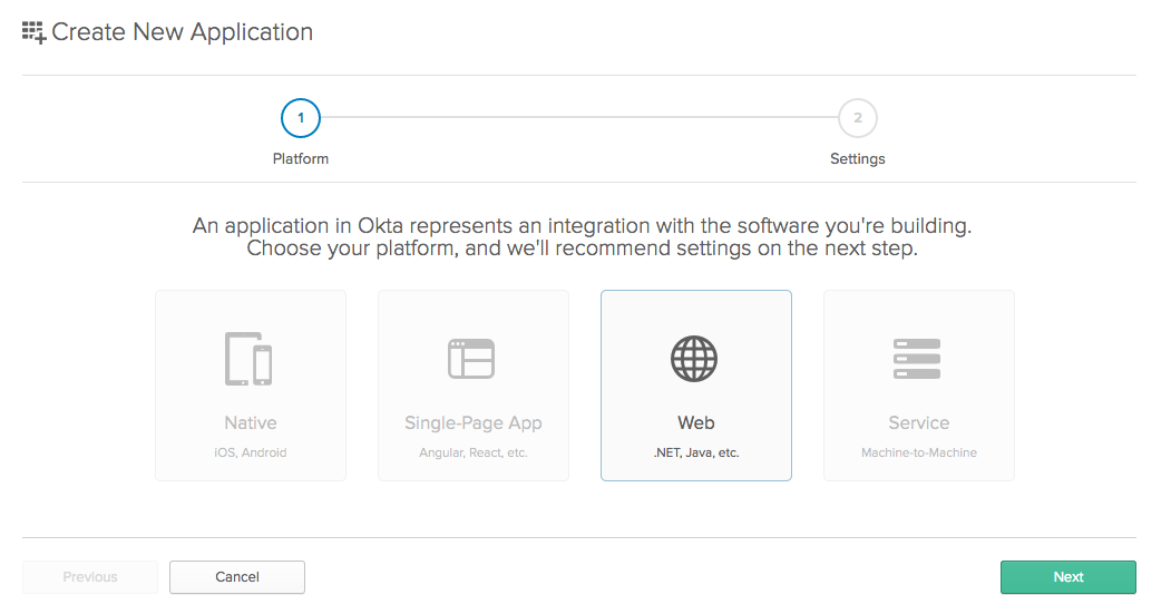 Okta create new app
