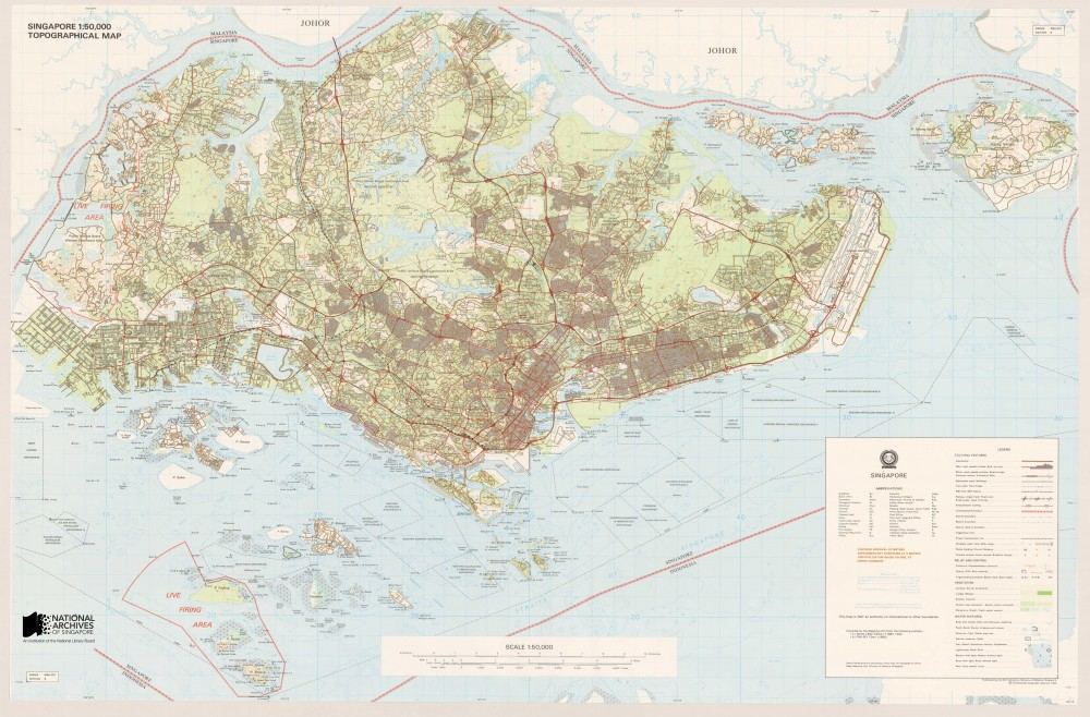 This topographical map of Singapore was the first map produced in Singapore using computerised techniques. It was published in 1993. Source: Singapore Land Authority, Courtesy of National Archives of Singapore Ref: TM000987