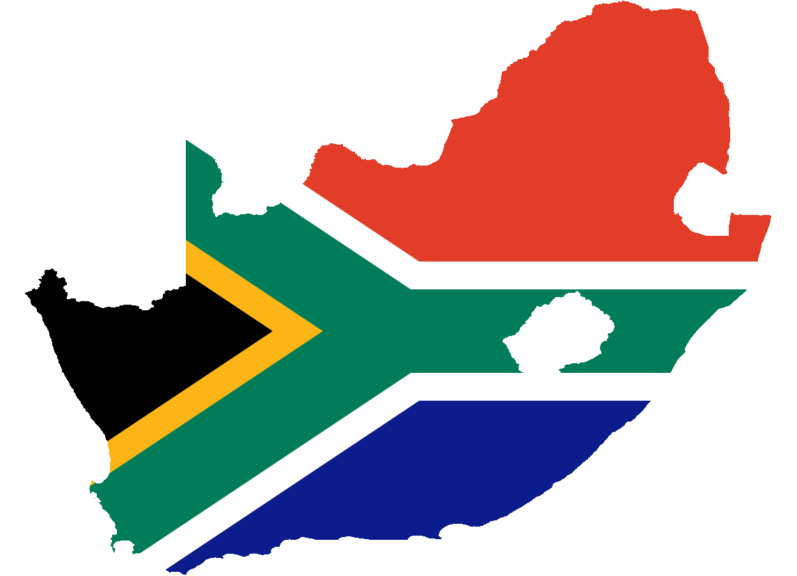 Sa Flag in Shape of South Africa