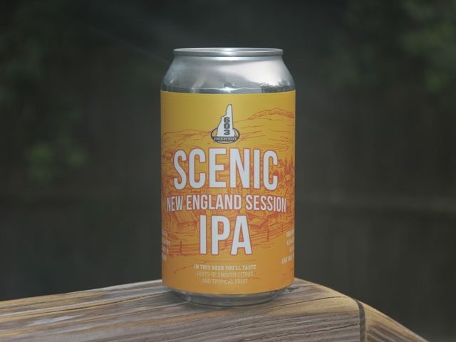 Scenic, a New England Session IPA brewed by 603 Brewery