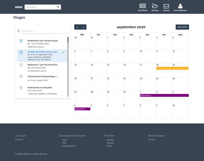 AROE - training management screenshot
